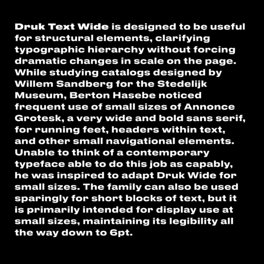 Commercial Type News New Release Druk Text By Berton Hasebe