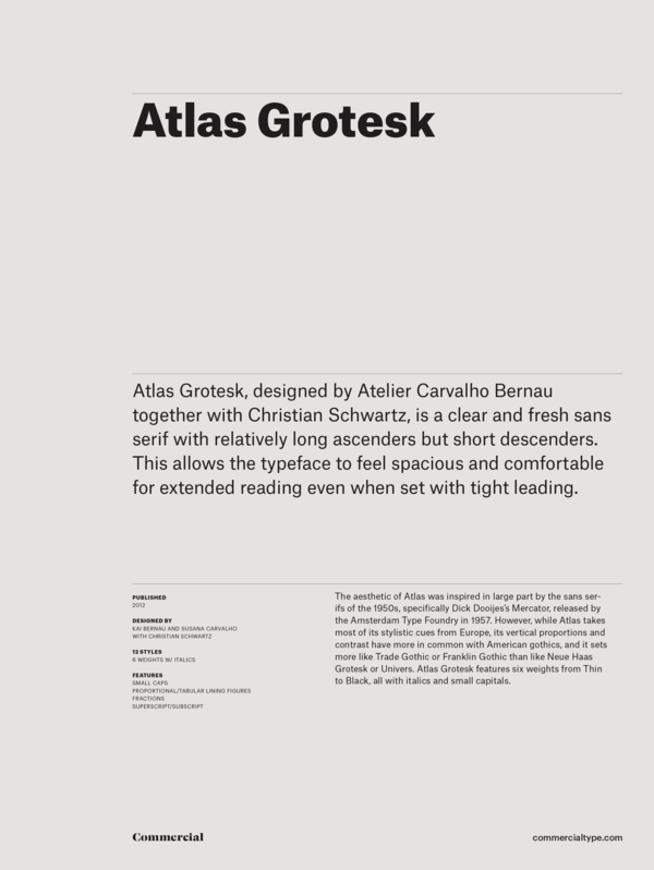 Commercial Type » Catalog » Atlas Grotesk Family