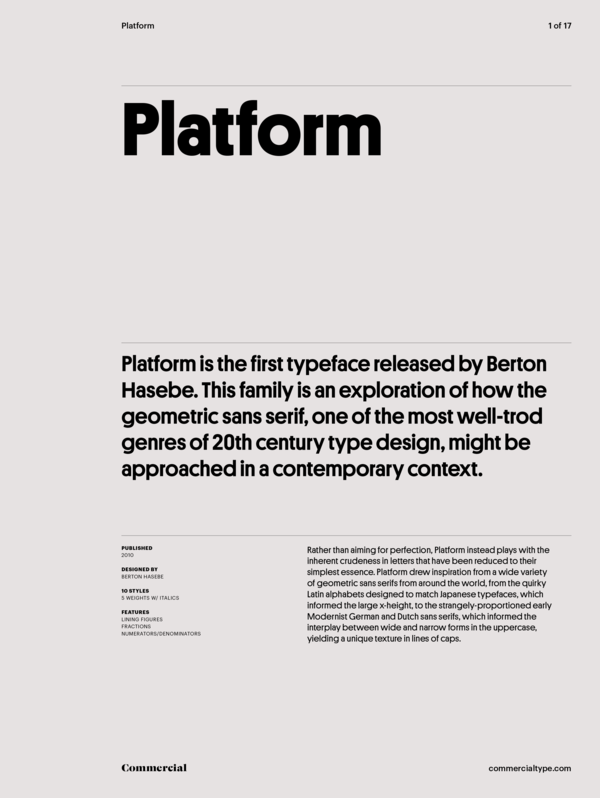 Commercial Type » Catalog » Platform Collection
