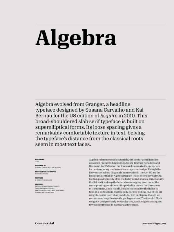 commercial type catalog algebra family