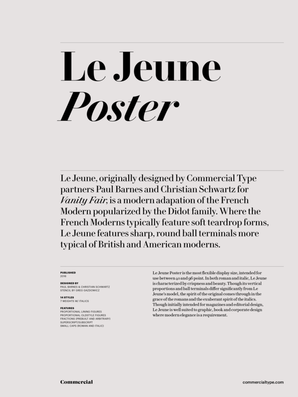 Commercial Type » Catalog » Le Jeune Collection