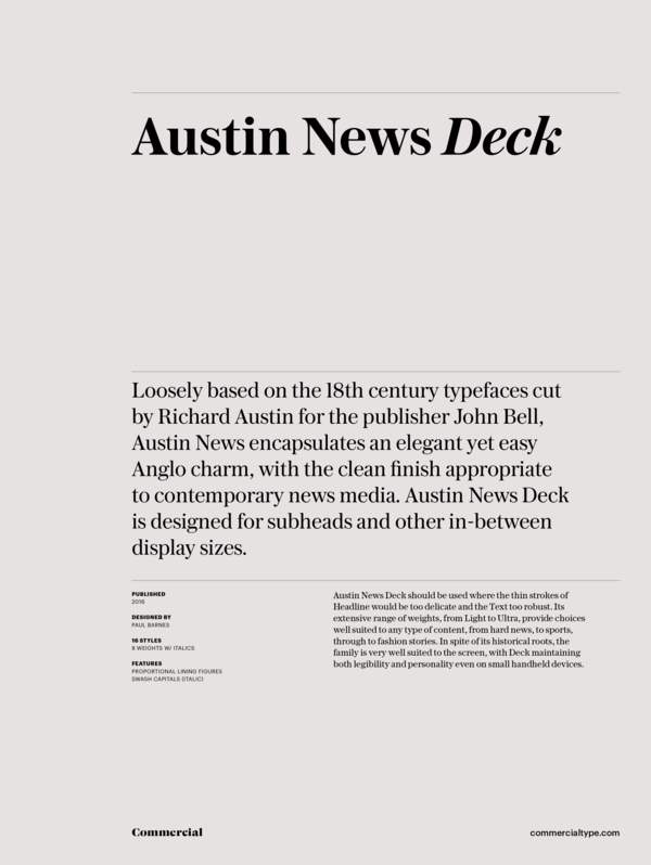 Commercial Type » Catalog » Austin News Collection