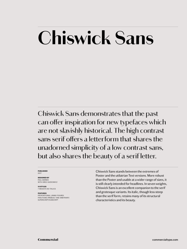 Commercial Type » Catalog » Chiswick Collection