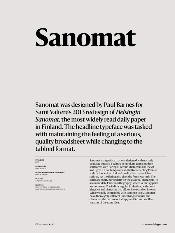 Commercial Type » Catalog » Sanomat Collection