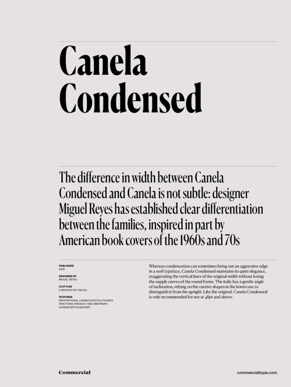 Commercial Type » Catalog » Canela Collection