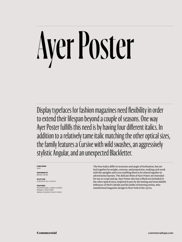 Commercial Type » Catalog » Ayer Collection